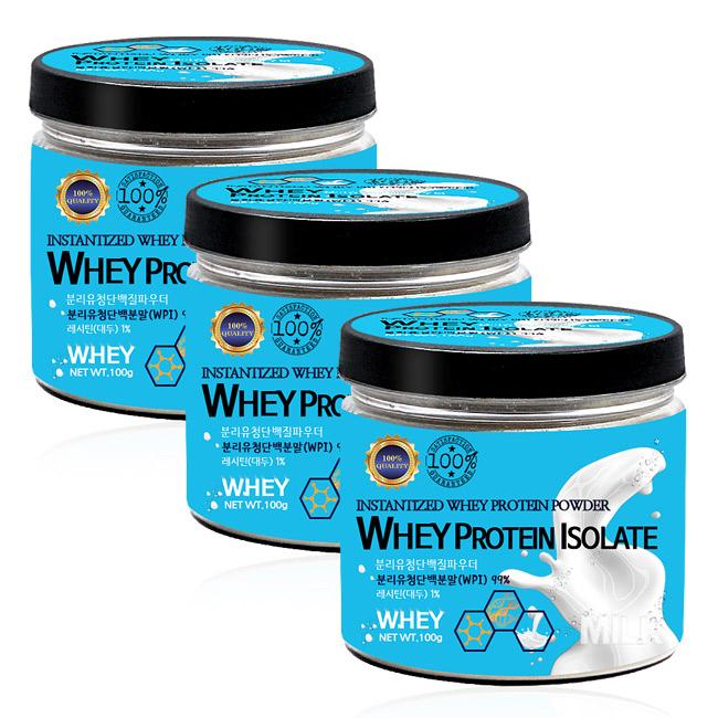 푸른들판 분리 유청 단백질 분말 WPI 99%, 100g, 3통