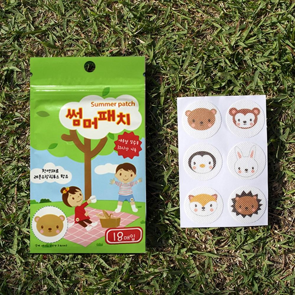 아이나라에듀 동물 썸머패치 5팩 세트(90매입) 옷위에 붙이는 벌레 스티커 여름필수품 12시간지속 모기