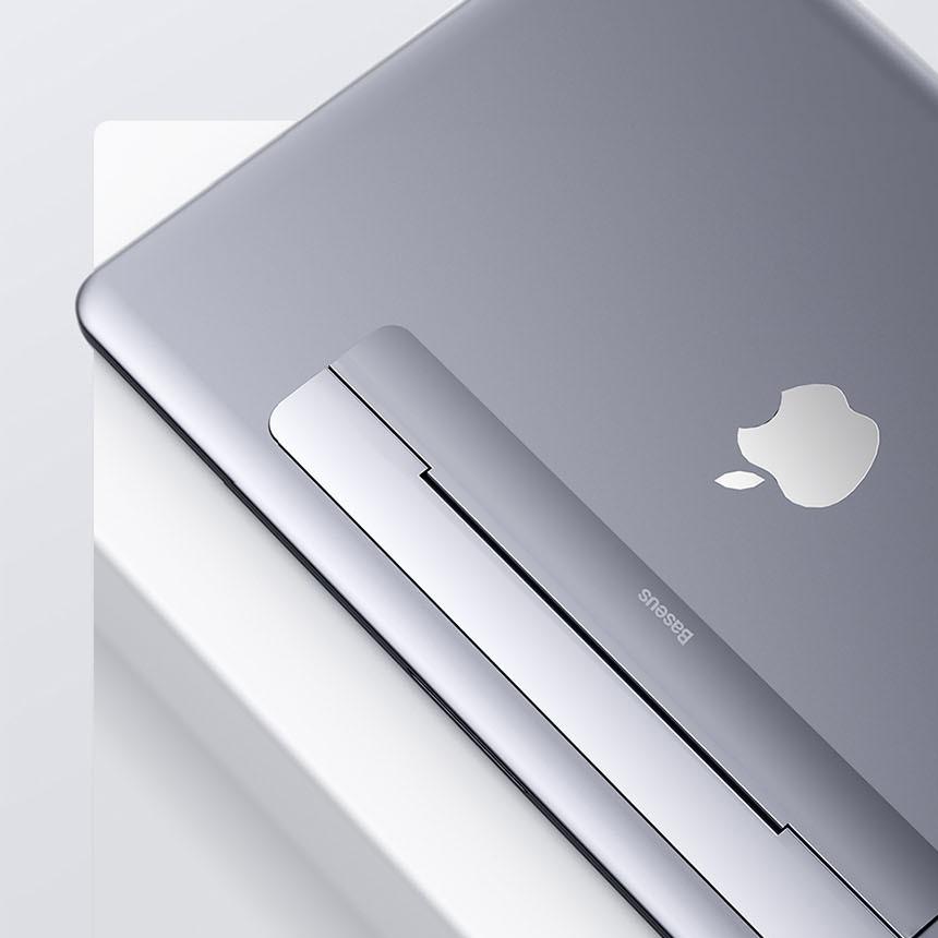 GLOUGLOU 맥북 스그 노트북 킥플립휴대용 거치대 받침대 쿨러 스탠드, 실버
