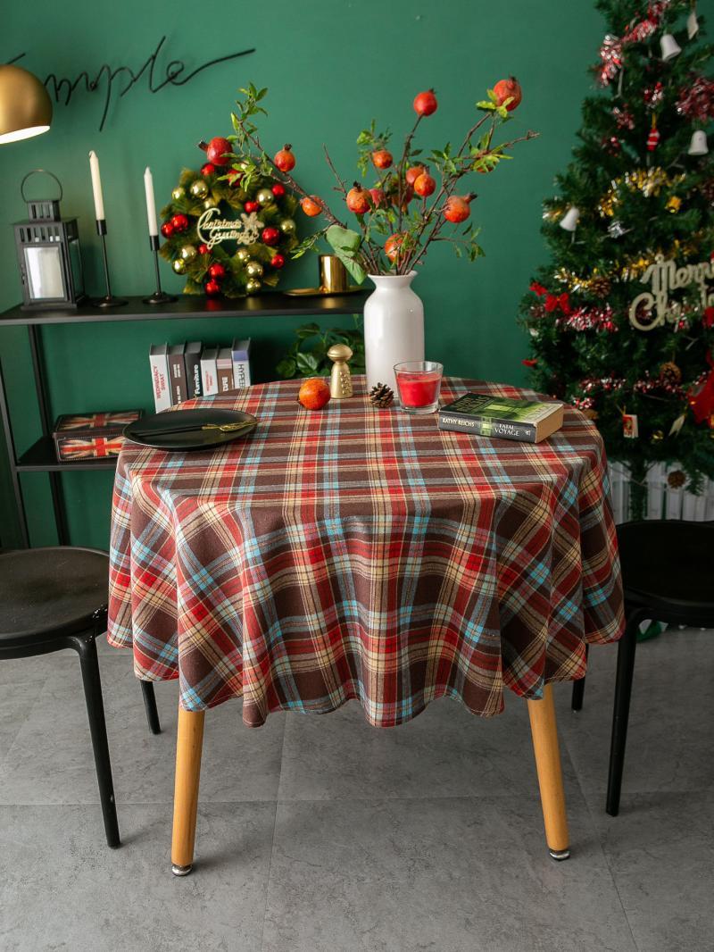 해외 크리스마스 식탁보 테이블보빈티지 잉글리쉬 북유럽 할로윈 티 테이블 천 사진촬영 유럽식 미식 산타 그린-10292, 01.90X90cm, 옵션02