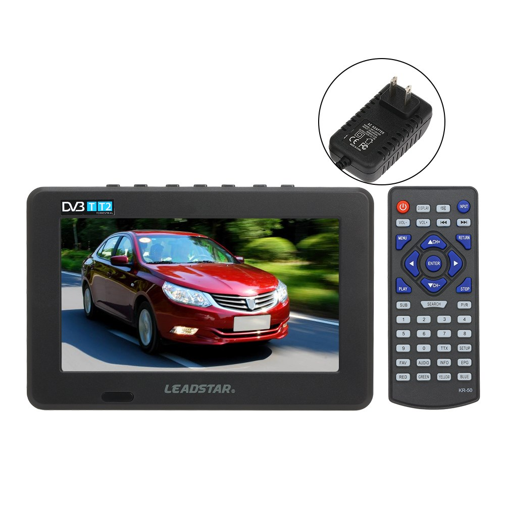 LEADSTAR 미니 7 인치 DVB-T-T2 디지털 아날로그 텔레비전 800x600 해상도 휴대용 TV 지원 PVR USB TF 카드 800mah 배터리, Black EU Plug