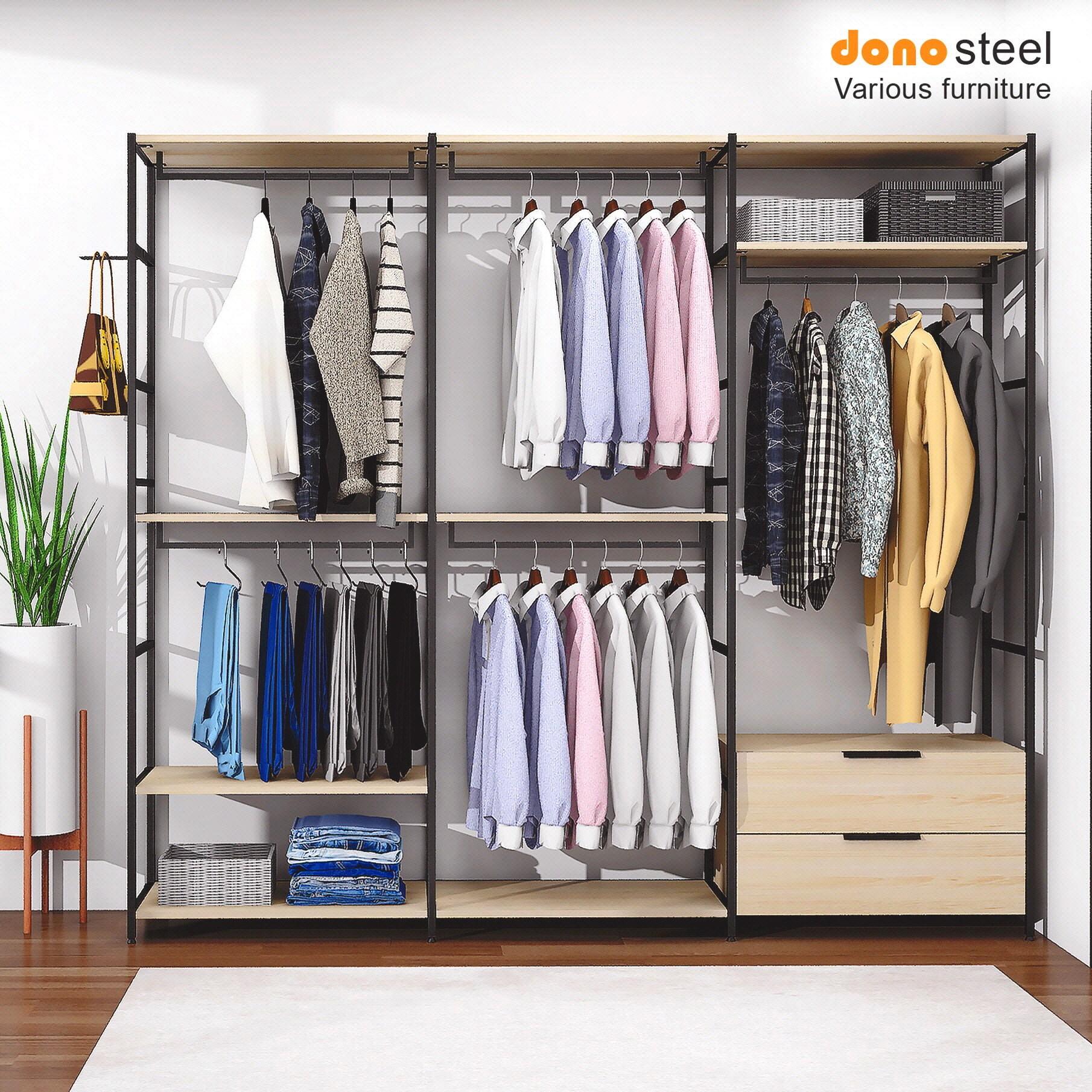 도노스틸 올리카 시스템연결옷장 6단3칸 서랍세트 드레스룸, A6. 옷장 6단3칸 (바지걸이+2행거+서랍)-도노오크