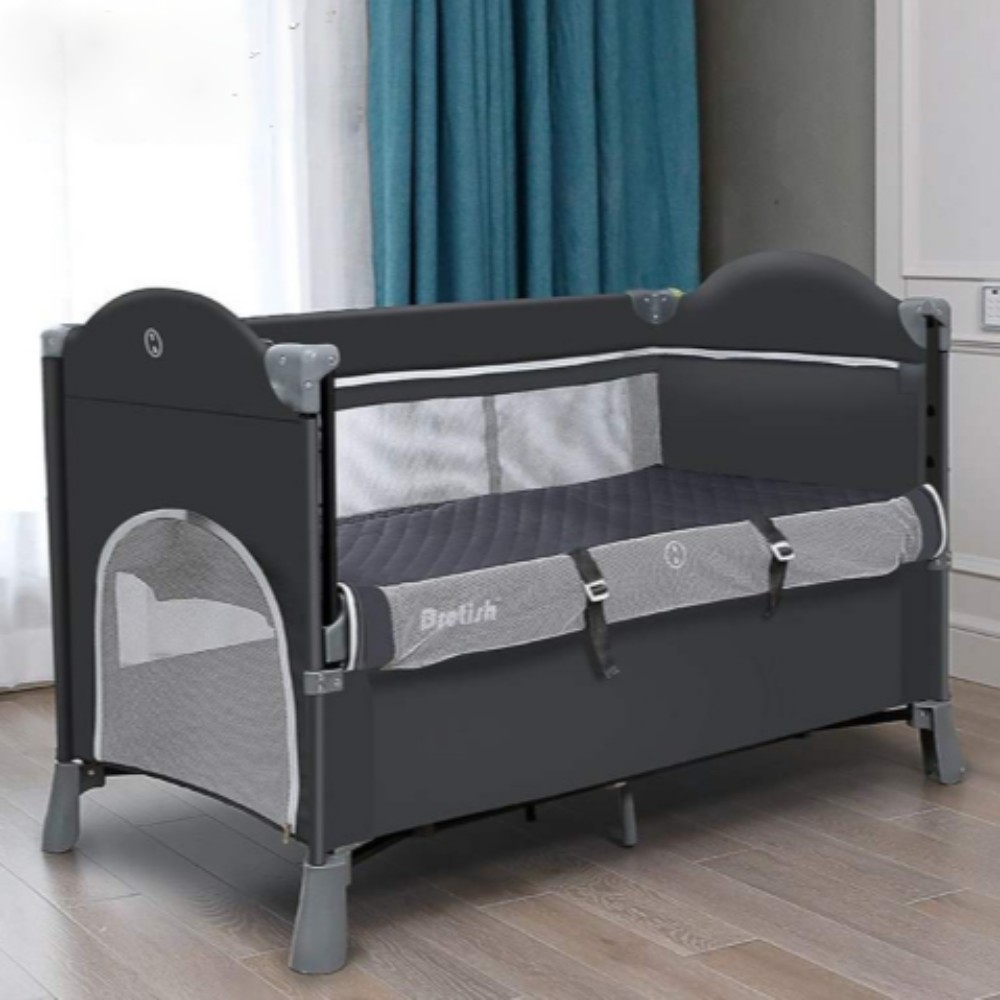 아기침대 이동식 침대 +쿠션, 침대 + 매트리스 + 고정 벨트 그레이