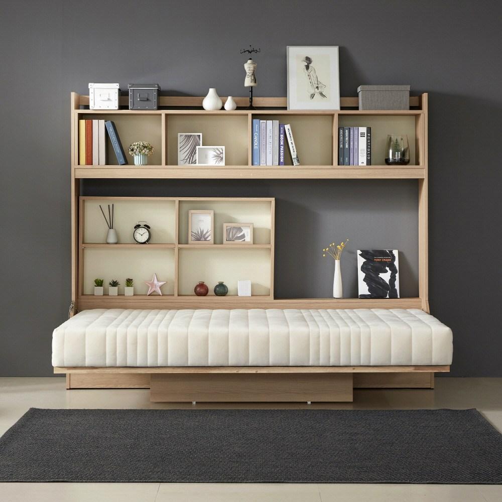 엘린까사 폴딩 월베드 가로형 접이식 침대+전용매트+내부수납장+상부수납장, 단일색상