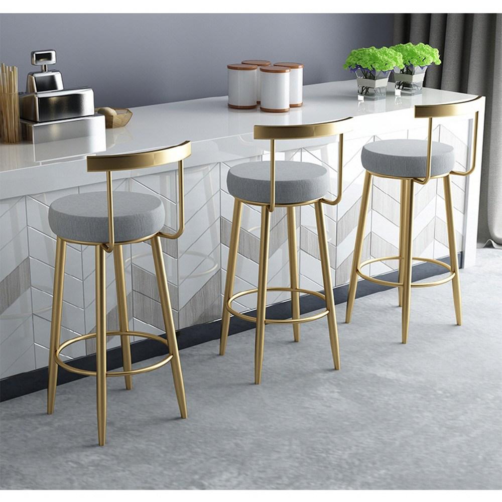 해외 북유럽 미니멀 홈바의자 아일랜드식탁의자 등받이 골드 주방 카페 식당 스툴 하이 높은 의자, 65 cm 높이