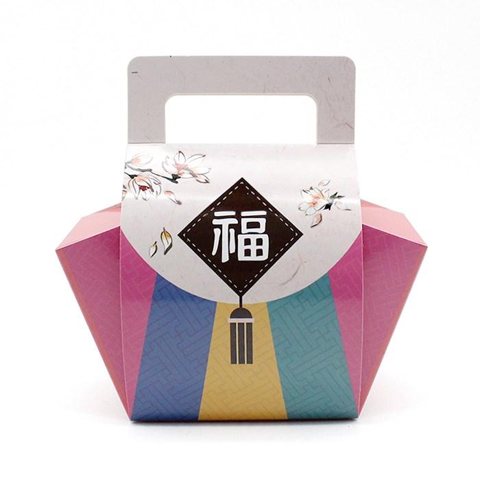 피크닉하우스 복주머니상자 추석송편떡포장상자 화과자상자, 색동복주머니상자1개