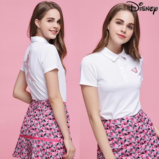 디즈니 [디즈니] 여성 라운딩 카라 티셔츠 화이트