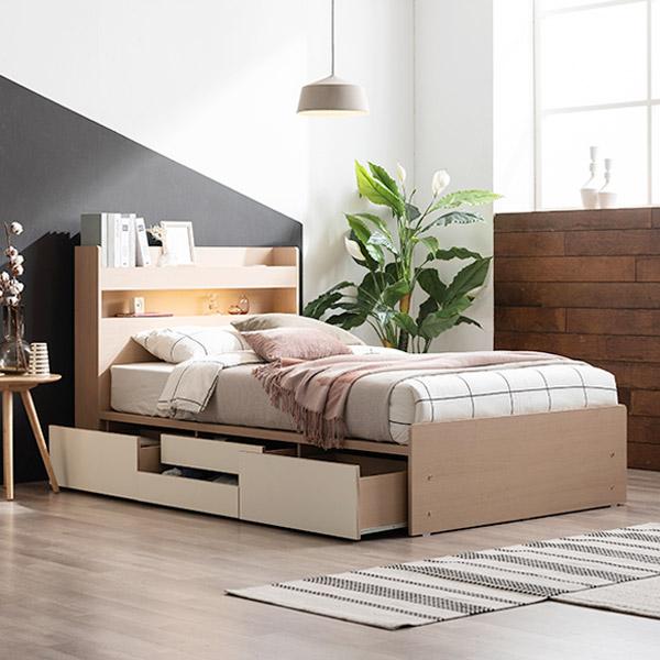 삼익가구 브린디 LED 슈퍼싱글/퀸 수납 침대 프레임, 오크+화이트