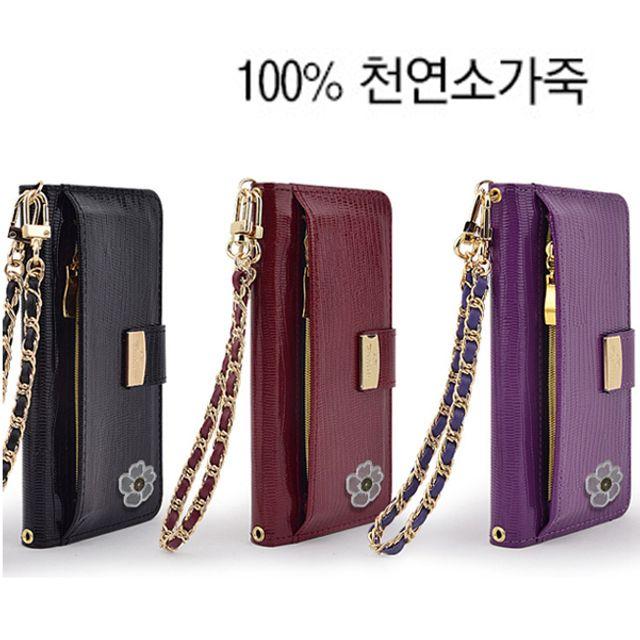Galaxy레더Case내추럴피혁Diary 택1 갤럭시 레드 지퍼 큐빅없음 바이올렛 블랙