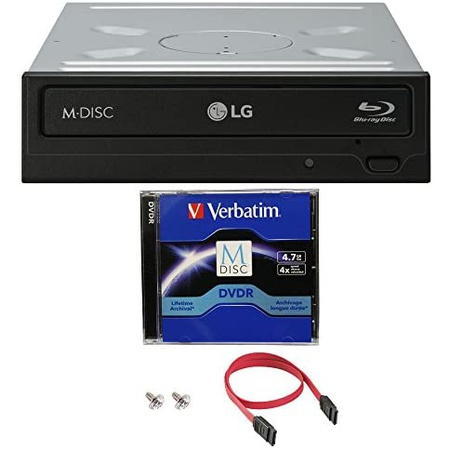 LG WH14NS40 14X 블루레이 BDXL DVD CD 내장 버너 드라이브 번들 with Free 4.7GB M-DISC DVD SATA 케이, 상세 설명 참조0