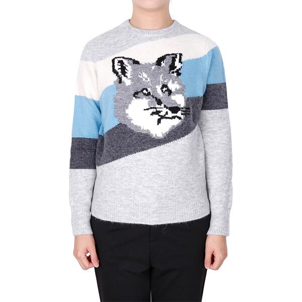 [Maison Kitsune]메종키츠네 19FW 그레이 블루 폭스 헤드 다이애그널 스트라이프 스웨터 DW00526KT1009 MULTICOLOR