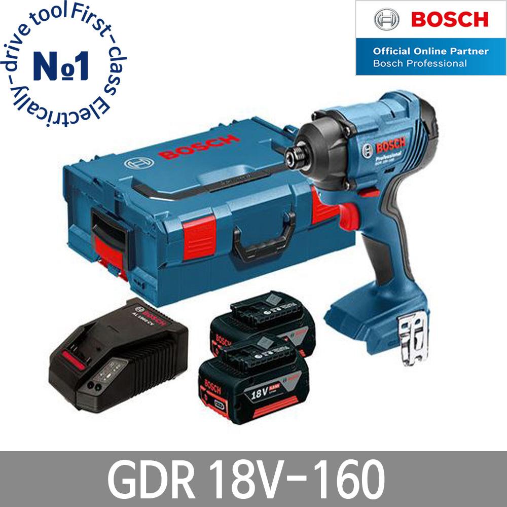보쉬 GDR18V-160 충전임팩 드라이버 5.0Ah 배터리2개, 단품