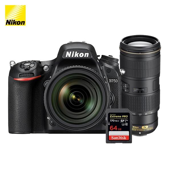 니콘 정품 카메라 D750(body) + AF-S 70-200mm f/4G ED VR SD 64G 메모리, D750 + AF-S 70-200mm + SD 64G 메모리
