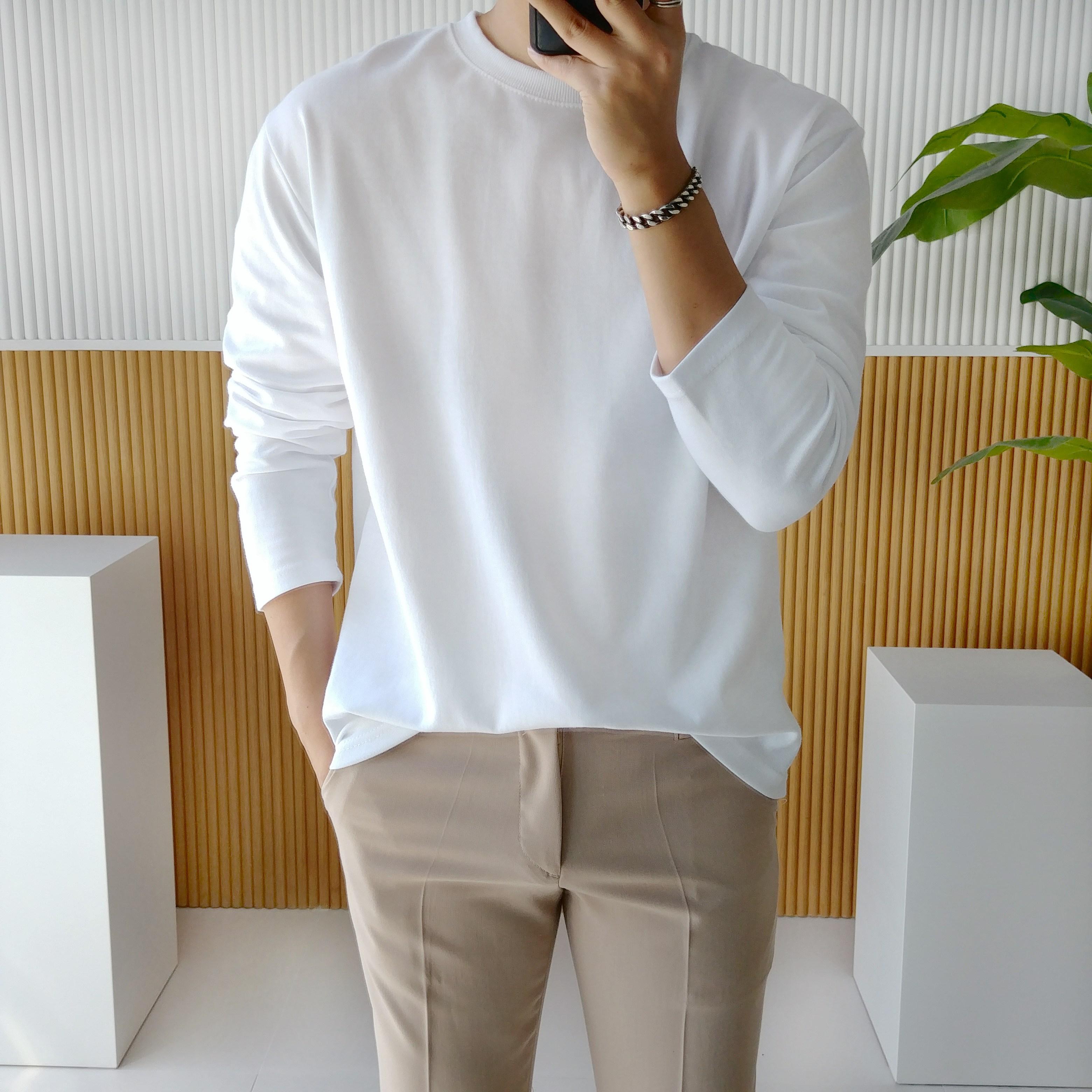 남자 오버핏 특양면 스판 라운드 무지 긴팔 티셔츠