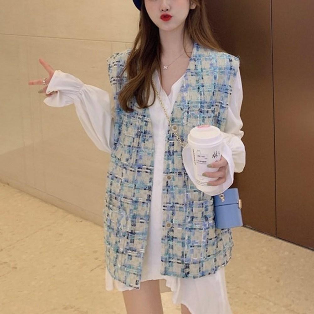 샤비아 여성 복고풍 트위드 베스트 패션 데일리 ZF