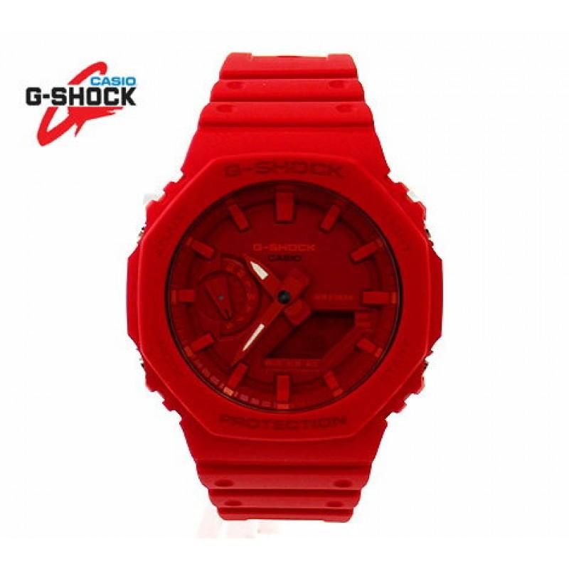 CASIO카시오 G-SHOCK GA-2100-4AJF시계 디지털 아날로그 카본 코어 가드 구조 붉었다