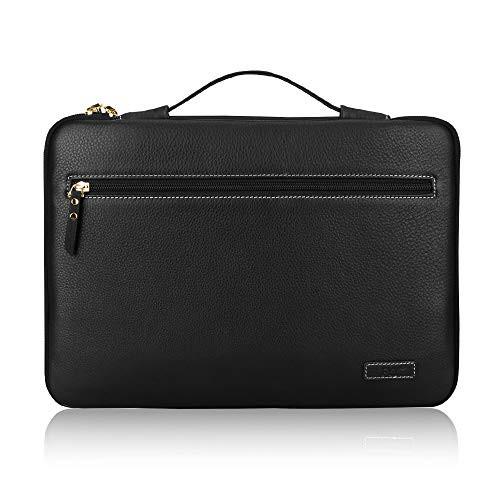 노트북 파우치 FYY 12-13.5&quot Premium Leather Laptop Sleeve Case Cover Bag for MacBook Pro/ MacBook Air/ iPad Pro 12.9 2018 2017 2016 Laptop Bag for 1, Size = 14-15.6 inch | Color = X-Floral-Purple