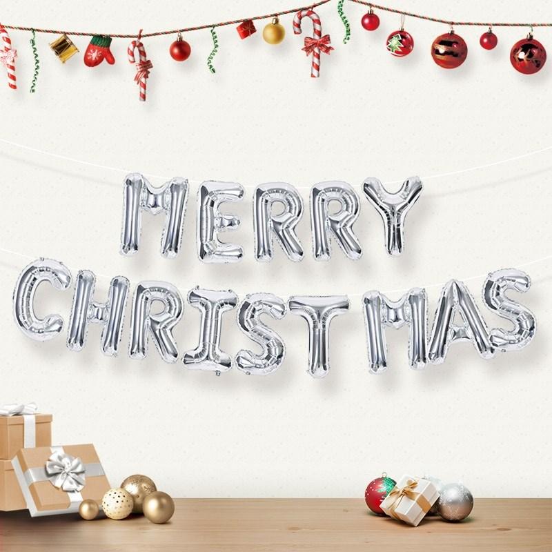 제이벌룬 크리스마스 은박풍선, 크리스마스풍선세트 MERRY CHRISTAMS 실버