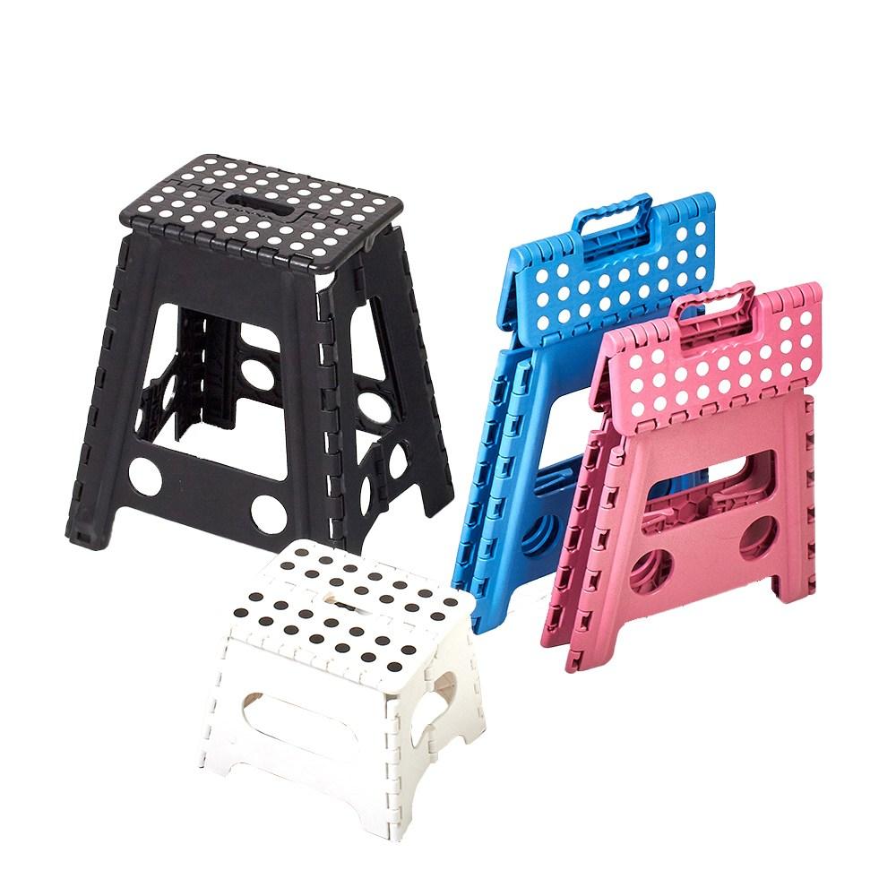할메이드 간이 접이식 스툴 휴대용 캠핑 보조 의자, 특대-블랙
