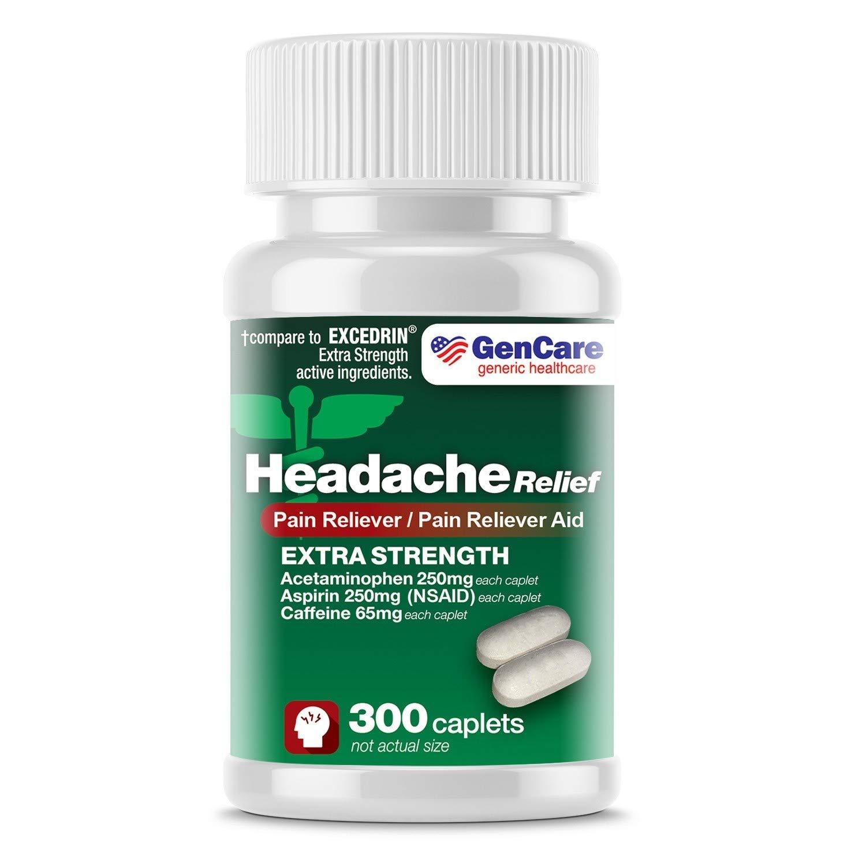 GenCare - Extra Strength Headache Relief 헤드에이크 두통 편두통 근육통 요통 완화 보조제, 300 정
