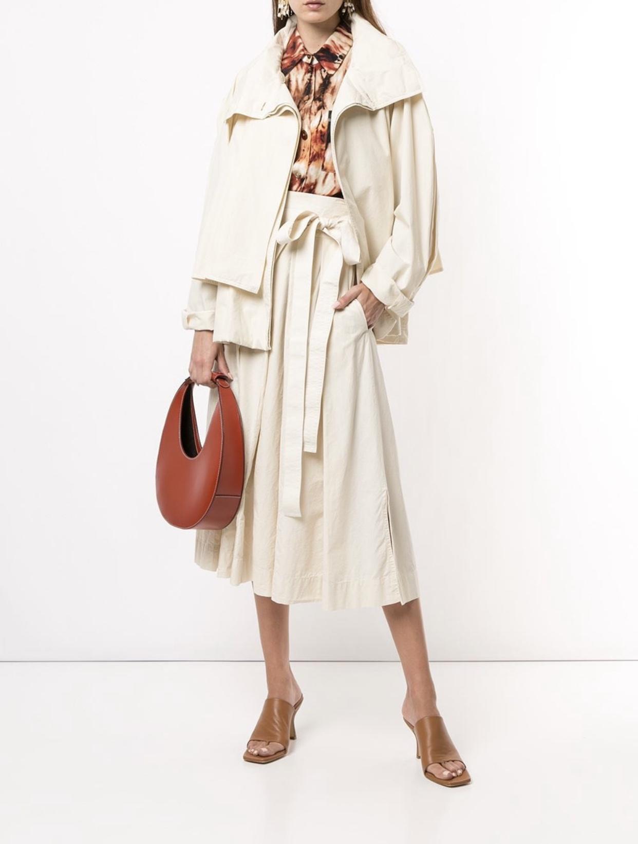 벨트스커트 Lemaire하이웨스트 트임 미들롱타입 작은키 감각디자인 플리츠 스커트 2020여성여름옷 가을신상