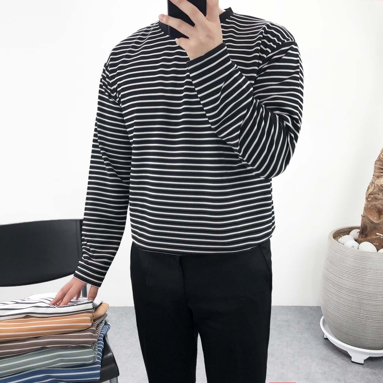 엠클로 남자 오버핏 6컬러 구김방지 링클프리 분또 스판 스트라이프 라운드 긴팔티셔츠 긴팔 티셔츠