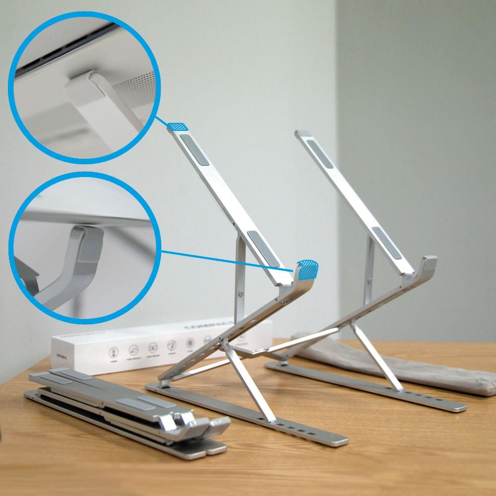 투하이 2단 접이식 노트북 거치대 높은 휴대용 받침대, 실버