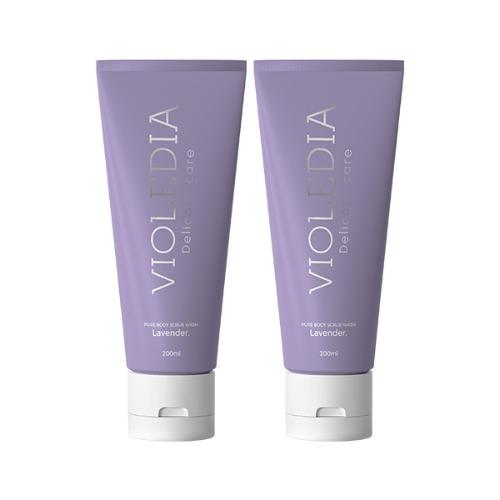 비올레디아 바디스크럽 1+1 워시 올인원 수분 라벤더 호두추출 촉촉 향기 각질관리, 바디스크럽 워시 1+1 (54%할인)