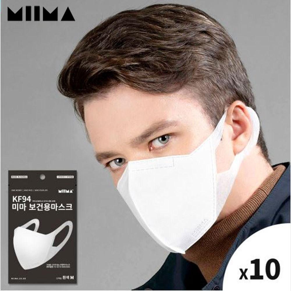 미마 보건용 마스크 KF94 성인용 M사이즈 1매입 10개 묶음판매, 1팩