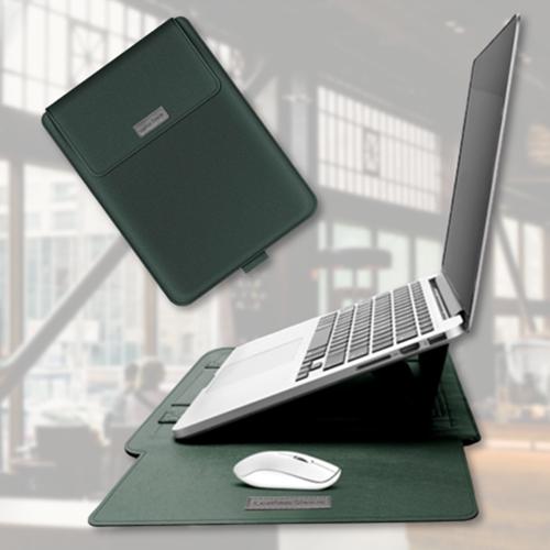 거치대겸용 맥북 LG그램 삼성 13인치 15인치 노트북 파우치 커버 가죽, 그린