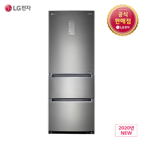 LG 디오스 K334S11E 스탠드 김치냉장고 퓨어메탈 327L 1등급 스탠드형