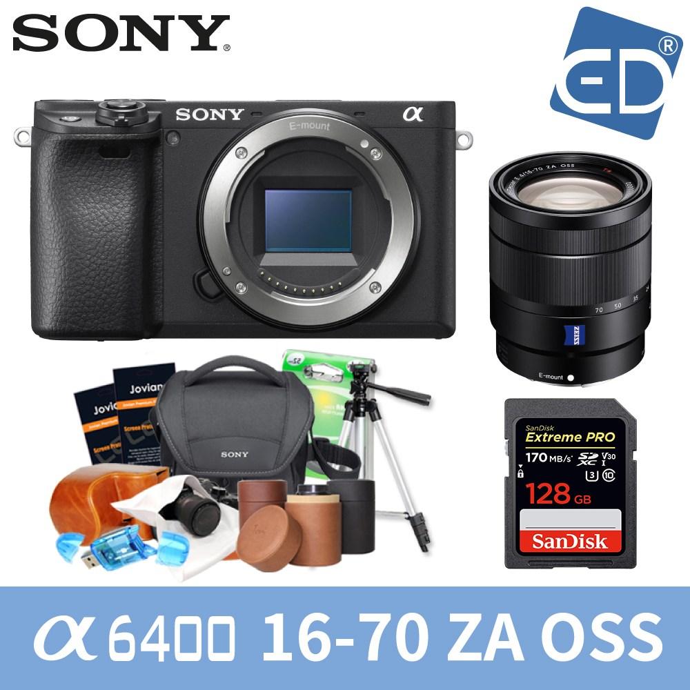 소니 A6400 16-50mm 128패키지 미러리스카메라, 07 소니A6400블랙+16-70mm렌즈 +128GB + 소니가방 풀패키지