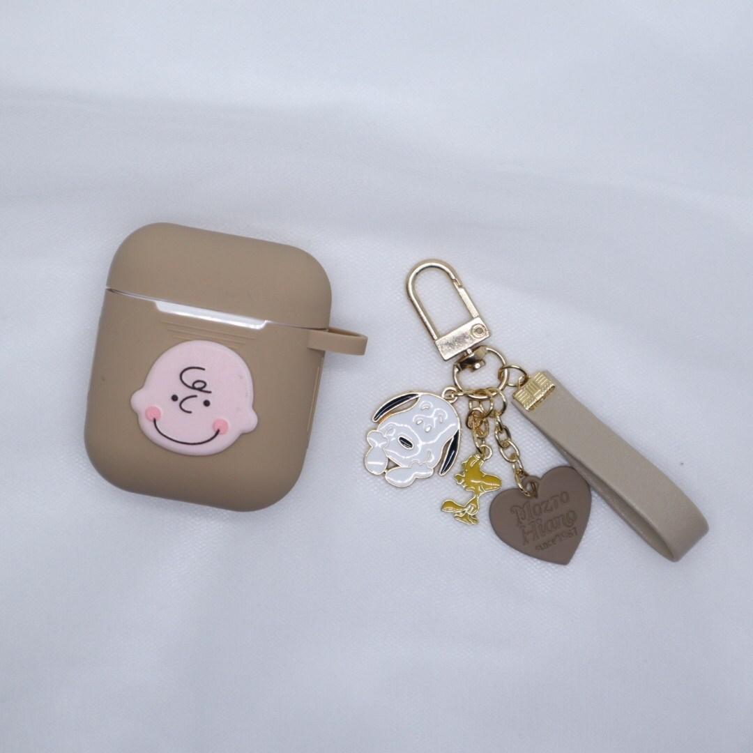 잉스리빙 꽃받침 스누피 가죽 스트랩 키링 + 케이스, B type(베이지가죽스트랩)