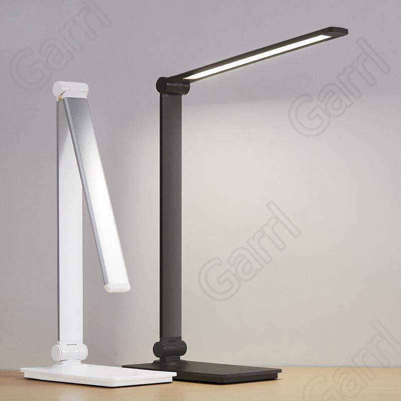 Garrl 시력 보호 LED스탠드 접이식 터치스크린 5단 밝기 조절가능 학습등 USB충전, 실버