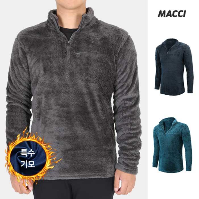 MACCI 남성용 긴털 후리스 반폴라 집업 긴팔 티셔츠 겨울 작업복상의 등산복 아웃도어 빅사이즈