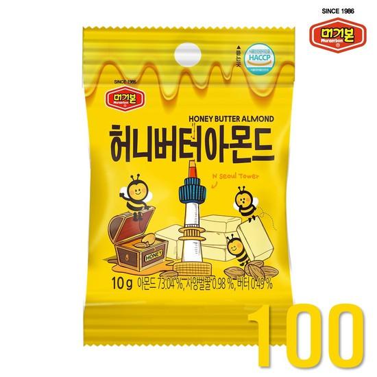 [머거본] 허니버터아몬드 10g 100봉, 없음, 상세설명 참조