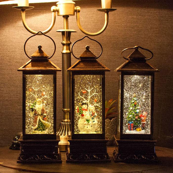1971 LED 사각랜턴 산타 워터볼 오르골 크리스마스 선물 연인 어린이 선물 뮤직박스 장식소품, 트리