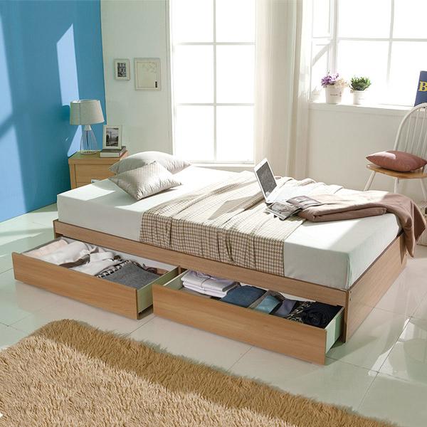 파란들 마이티 멀티수납더블침대(파워B.N매트포함), 브라운, 침대프레임+참숯파워B.N매트