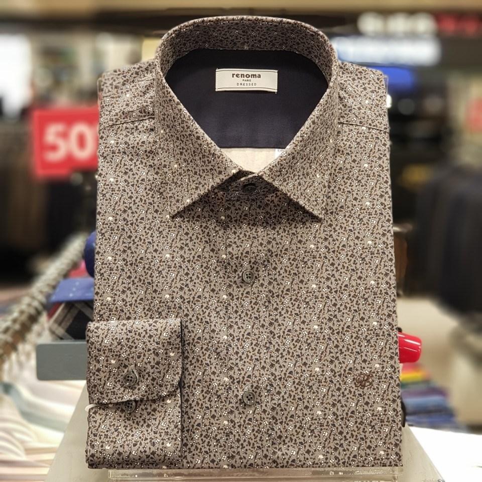 레노마 셔츠 #무료 배송 #가격 인하 #면 100% 헤링본 꽃 프린트 배색 일반핏 남방