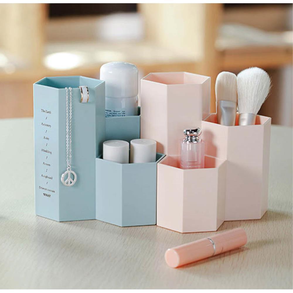 정육각형 필기구 사무용품 책상 정리함 데스크꾸미기, 블루