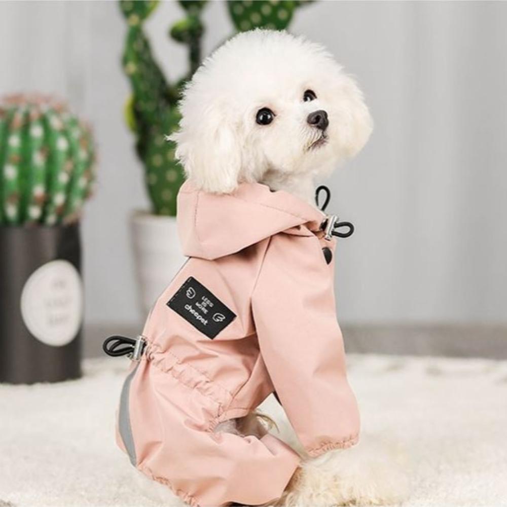 부투펫 강아지우비 방수 빛반사 비옷 레인코트, 블루