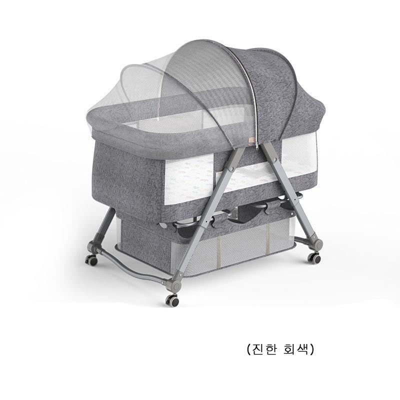 BJJ-002 범용 모기 그물 신생아요람 휴대용 아기침대 요람 침대 (모기장+틀+4개세트+ 수납백), 진한 회색