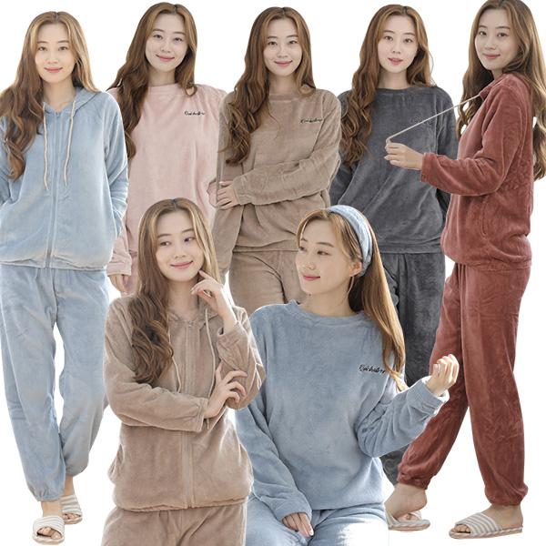 여성 수면 잠옷 상하세트 무지 겨울 밍크 기모 실내복 긴팔 홈웨어 파자마 수면잠옷