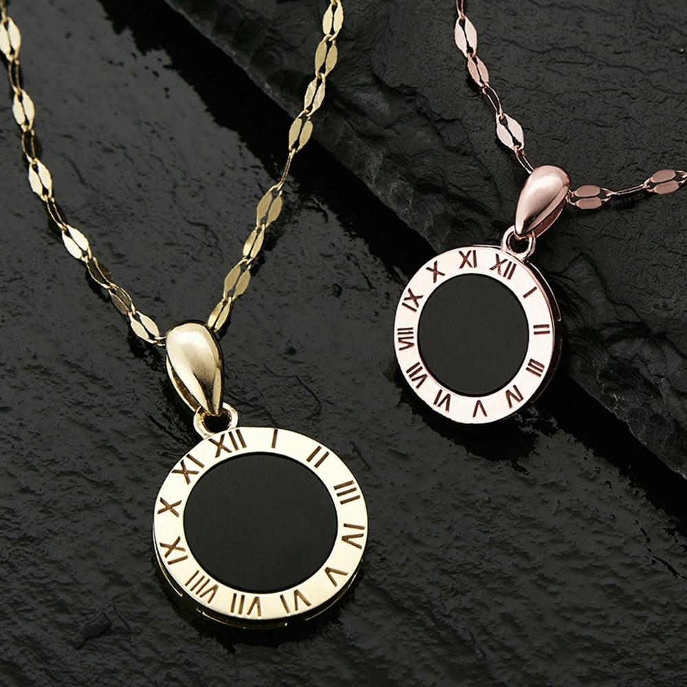 에바주얼리 데일리 14K 오닉스 원석 원 블랙 로즈골드 심플 체인 라운드 로마 숫자 펜던트 목걸이 사은품증정