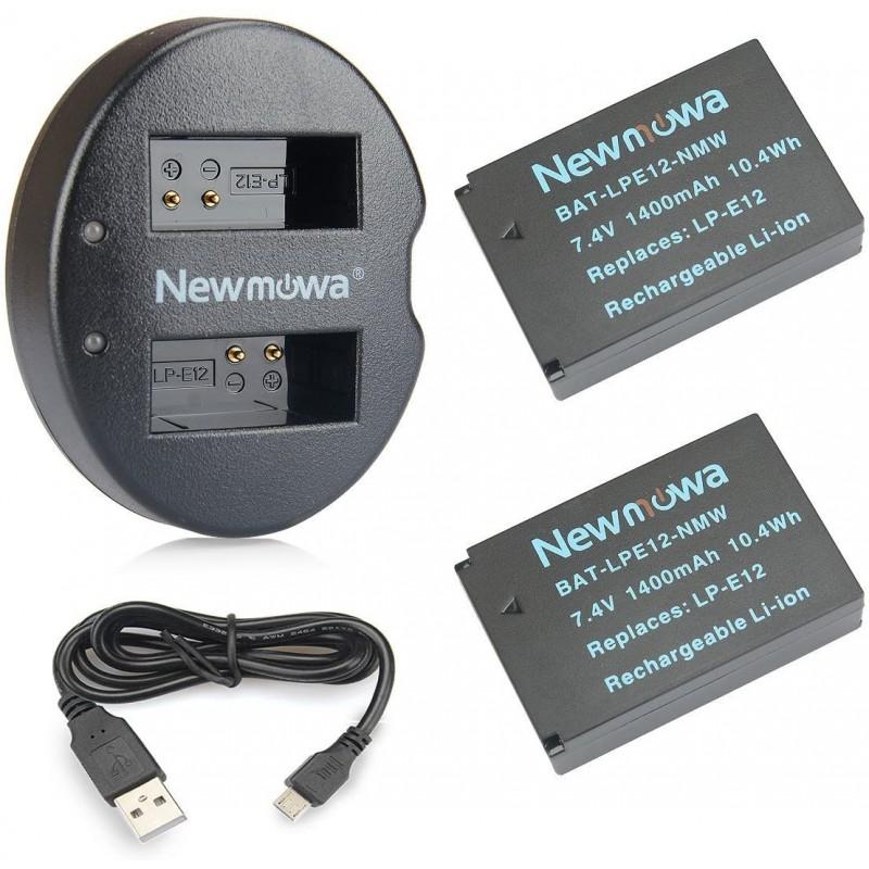Newmowa LP-E12 교체 배터리 (2 팩) 및 Canon LP-E12 및 Canon EOS M M2 M10 M50 M100 M200 EOS 100D EOS Rebel SL1 EOS KISS, 단일옵션