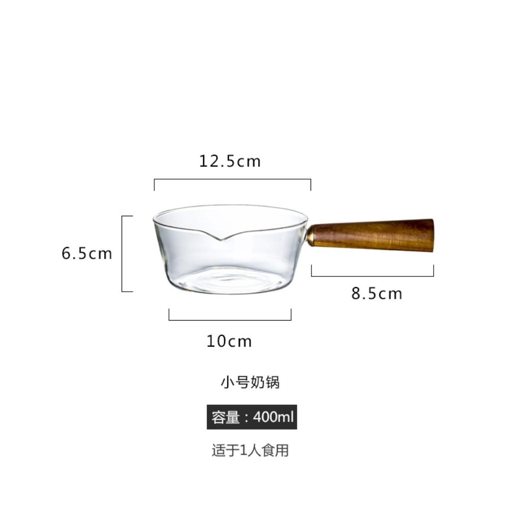 북유럽 우드 손잡이 편수 유리 밀크팬 내열 냄비 밀크티 밀크팟, C, 상세참조