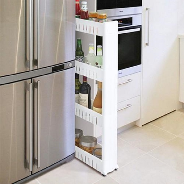 바퀴수납장 슬라이드 폭좁은 냉장고 옆 틈새장 자리 베란다건조기 세탁기 얇은 좁은공간 수납장, 단일상품