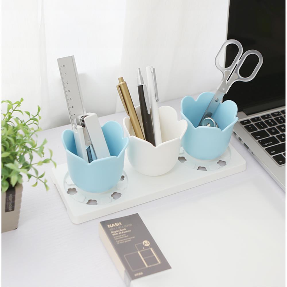 여학생 공부방 꽃모양 필기구 정리함 책상꾸미기, 1개, 블루