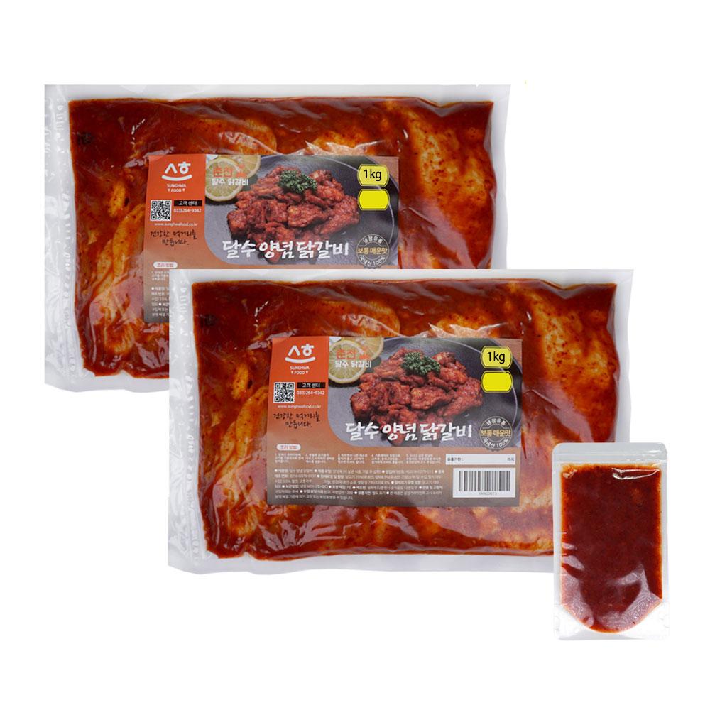 춘천 달수 한입양념닭갈비 1kg 2팩(소스 증정) 국내산 냉장 당일제조발송, 2팩