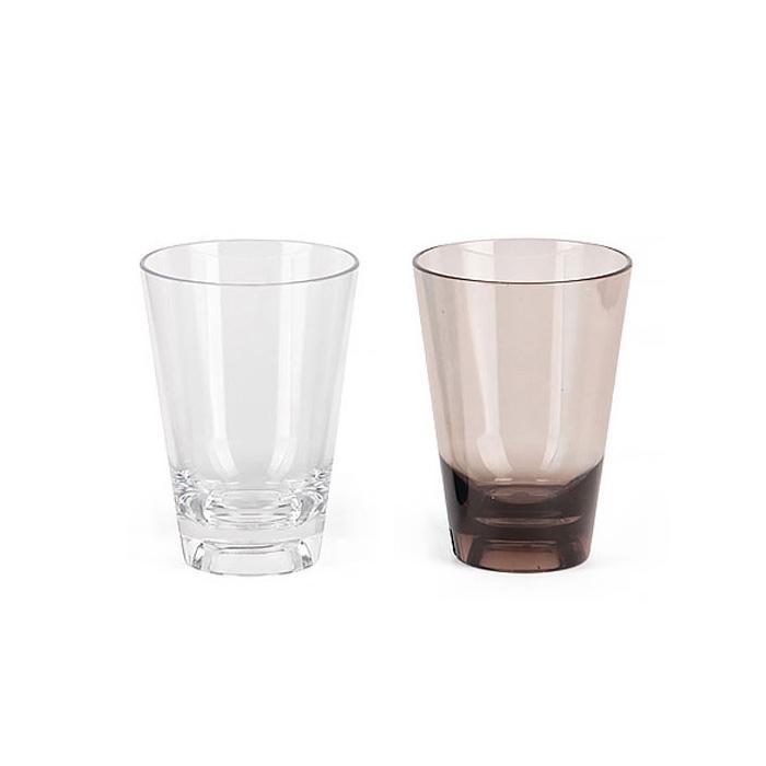 업소용 PC 물컵 음료수 주스 카페용 투명 안깨지는 컵, 원형심플컵-R80, 브라운